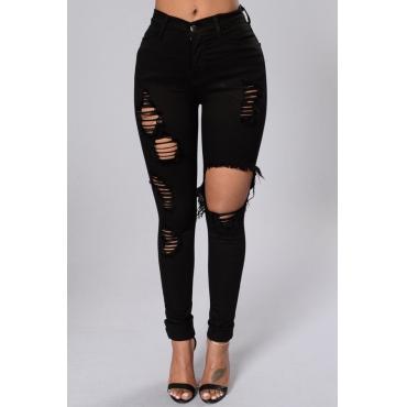 Trendy High Waist Broken Holes Black Denim Pants