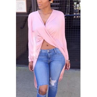 Sexy V Neck Asymmetrical Pink Blending Shirts
