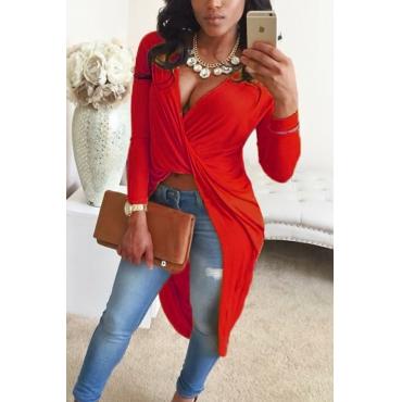 Sexy V-Neck Asymmetrische Rote Mischhemden