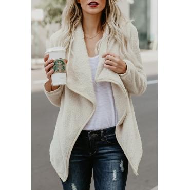 Lovely Euramerican Long Sleeves Beige Woolen Long Coat