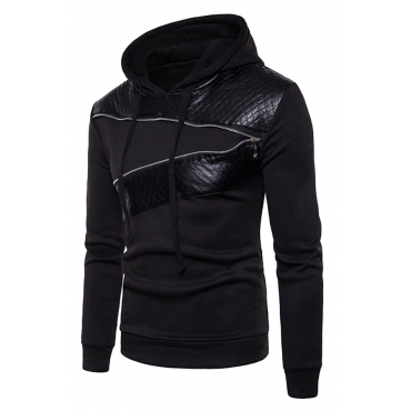 Casual Long Sleeves Patchwork Black Cotton Blends Hoodie for men