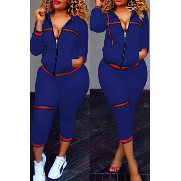 Leisure Zipper Design Dark Blue Knitting Two-piece Pants Set