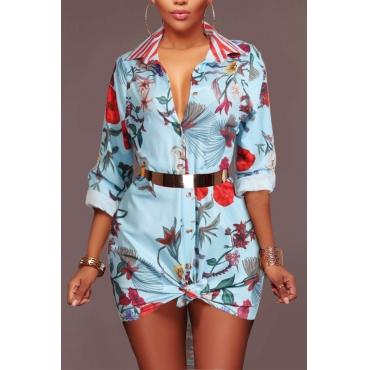 Trendy Turndown Collar Printed Light Blue Healthy Fabric Mini Dress(Without Belt)