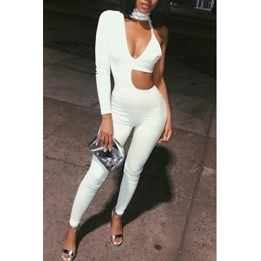 Sexy Round Neck Hollow-out Asymmetrical White Polyester One-piece Jumpsuits