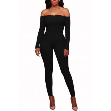 Stylish Dew Shoulder Black Polyester One-piece Jumpsuits