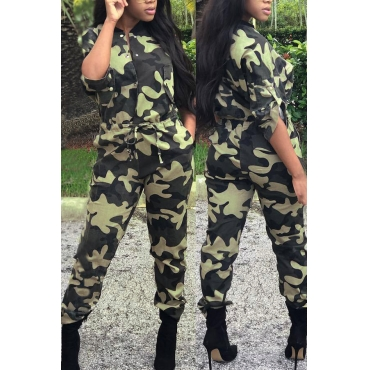 Stylish Round Neck Camouflage Printed Polyester One-piece Jumpsuits