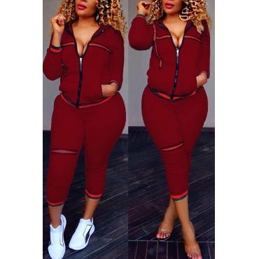 Leisure Zipper Design Wine Red Knitting Two-piece Pants Set