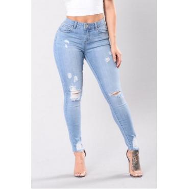Trendy High Waist Broken Holes Baby Blue Denim Pants