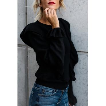 Lovely Trendy Round Neck Falbala Design Black Polyester T-shirt