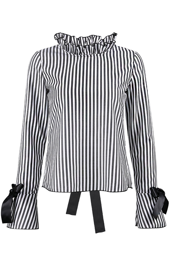 Sexy Collar De Mandarina Con Cordones Camisas Negras De Poliéster Huecas