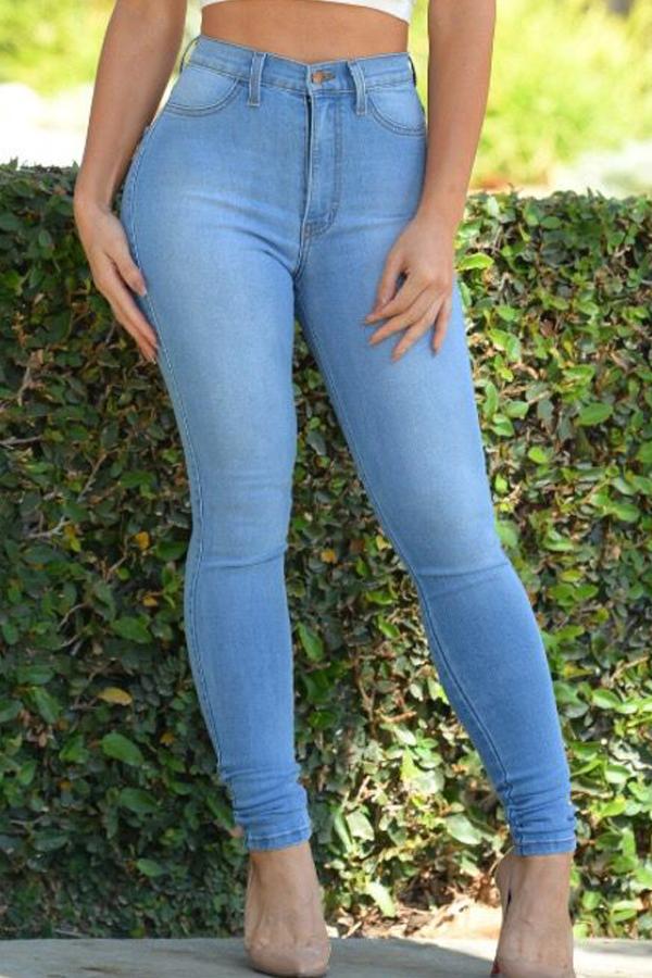 LovelyTrendy High Waist Zipper Design Baby Blue Denim Pants