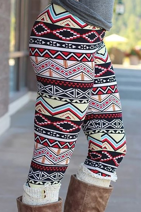 Trendy High Waist Printing Polyester Leggings