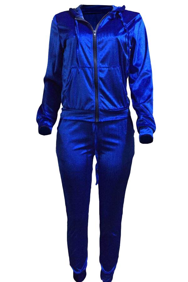 Euramerican Turndown Collar Zipper Design Deep Blue Velvet Two-piece Pants Set