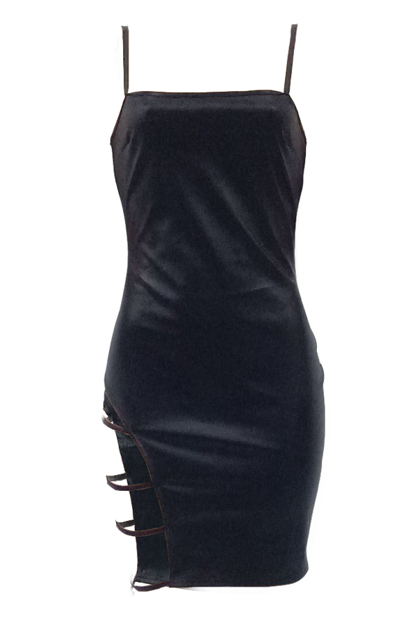 Sexy Sleeveless Hollow-out Black PU Mini Slip Dress