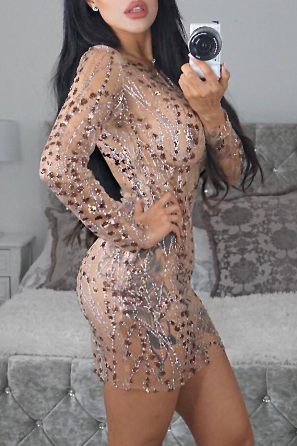 Sexy, Rundes, Durchsichtiges, Dekoratives Beigefarbenes Minikleid Aus Pailletten (mit Futter)