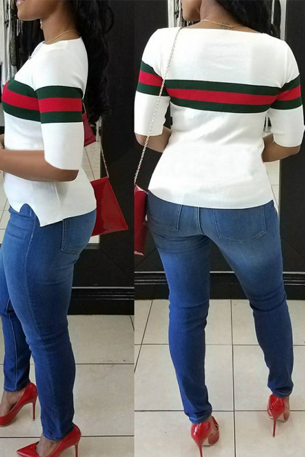 Linda Manga Redonda Listrada Patchwork Camiseta De Algodão Branco