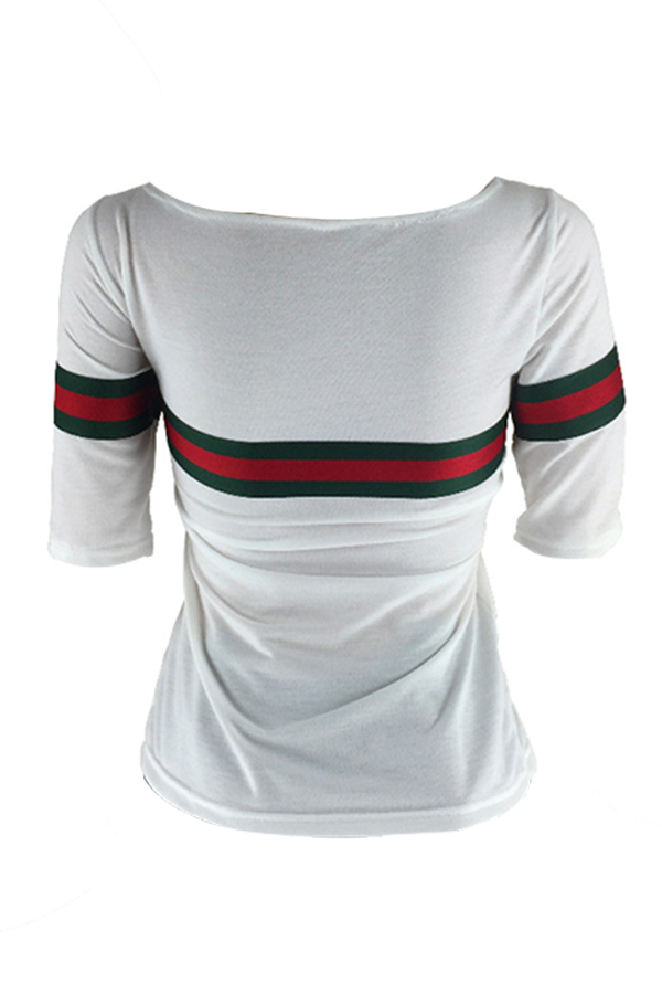 Lovelycasual Rundhalsausschnitt Gestreiftes Patchwork Weißes Baumwoll-T-Shirt