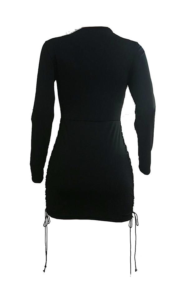 Sexy Mini Vestido De Encaje Con Cuello En V Ahuecado Negro Fibra De Leche