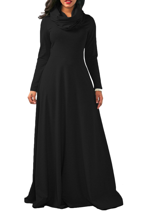 Vestido Casual De Algodón Con Mangas Largas Y Cuello Tobillo Negro