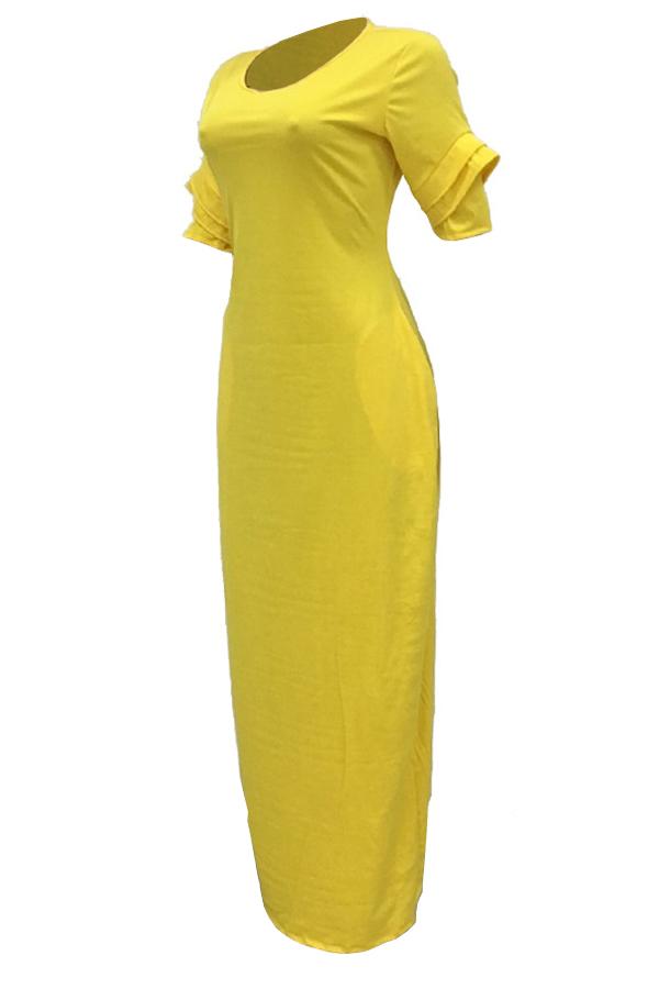 Freizeit-Rundhalsausschnitt Design Gelb Polyester Bodenlangen Kleid