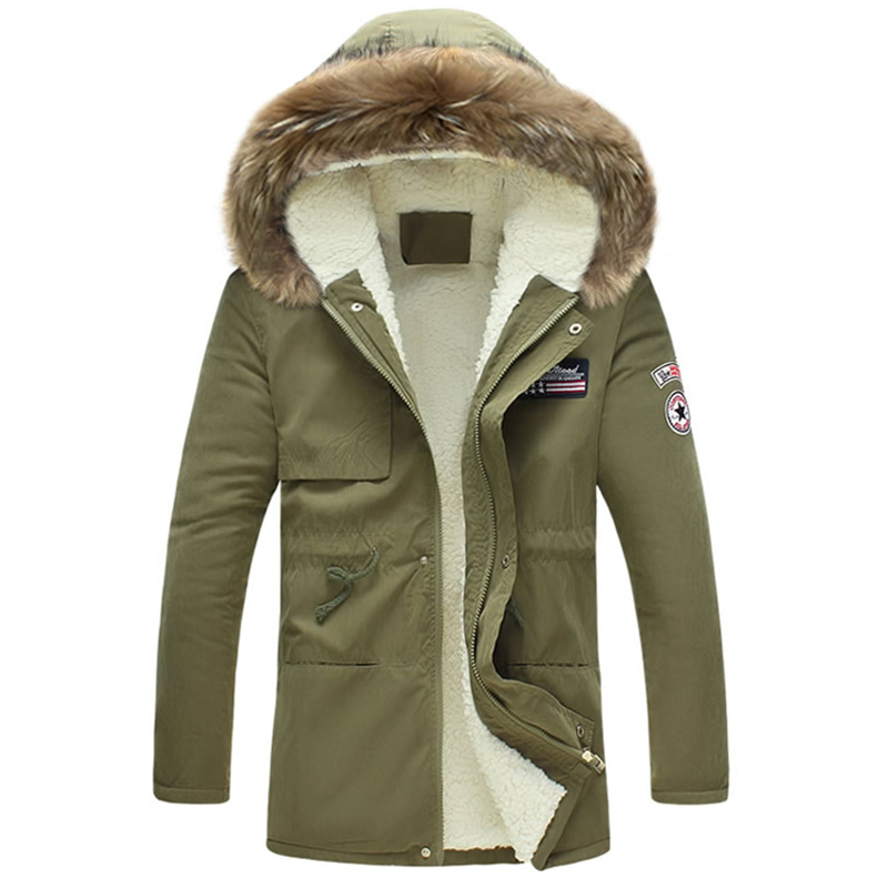 Stylish Hooded Collar Zipper Design Army Green Cotton Coats for men