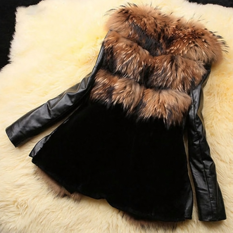 Trendy V Neck Long Sleeves Patchwork Yellow Faux Fur Coats