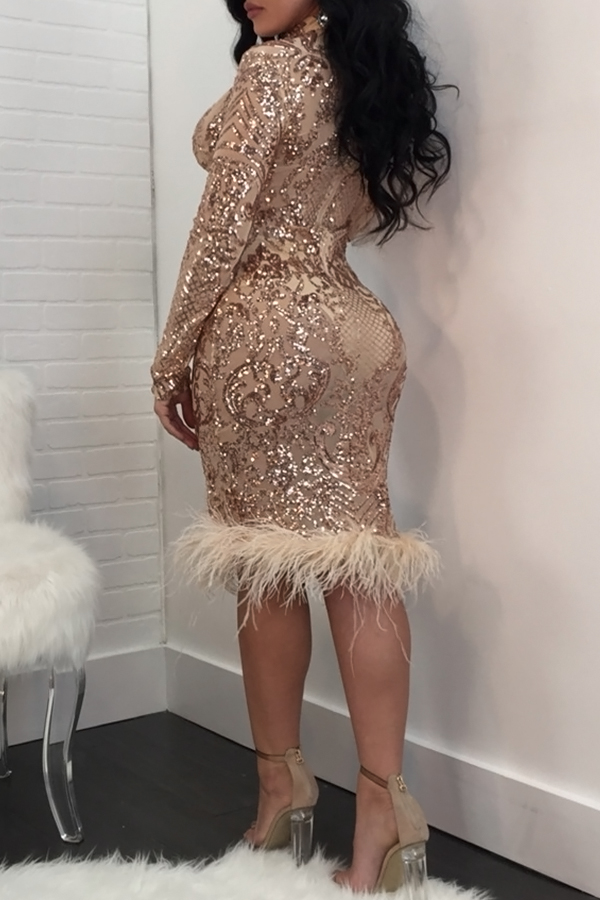 Lovely Sexy Deep V Neck See-Through Rose Gold  Sheath Knee Length Dress