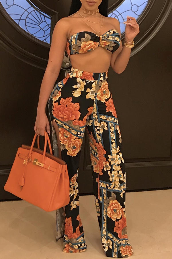 Sexy Bateau Neck Side Slit Printed Blending Three-piece Pants Set