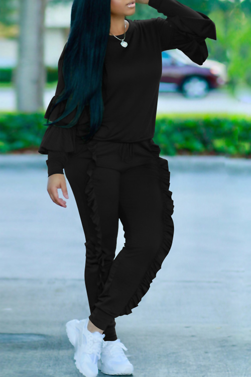 Fashionable Round Neck Ruched Black Blending Two-piece Pants Set
