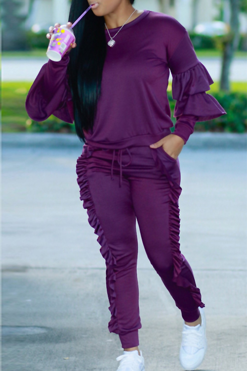 Fashionable Round Neck Ruched Purple Blending Two-piece Pants Set<br>