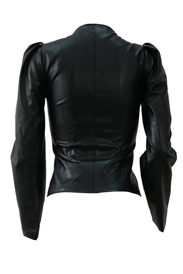 Retro V-Ausschnitt Reißverschluss Design Schwarz PU-Mantel