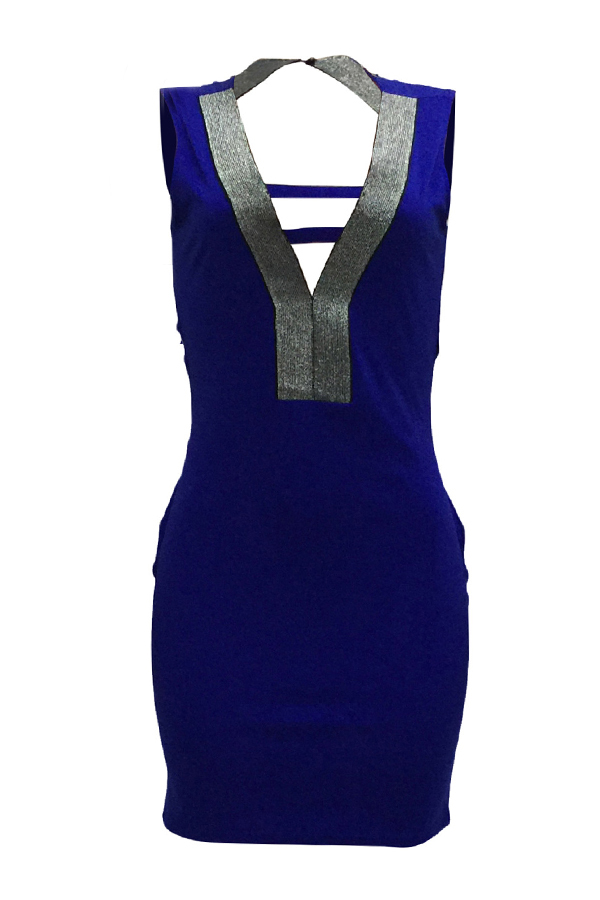Sexy V Neck Hollow-out Blue Polyester Sheath Mini Dress