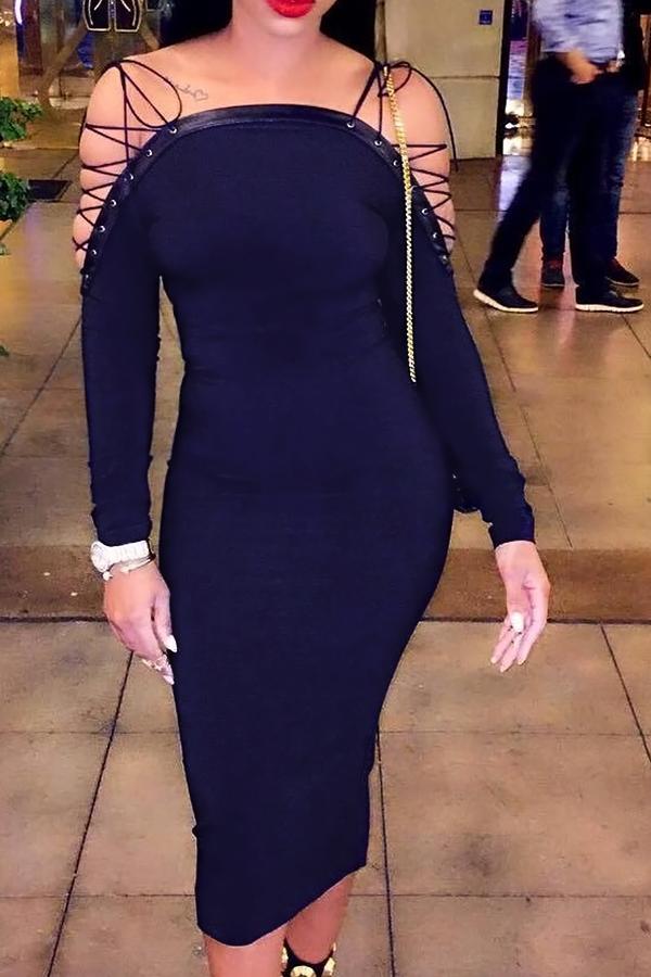 Sexy Bateau Cuello Hombros Con Cordones Azul Oscuro Poliéster Mediados De La Pantorrilla Vestido