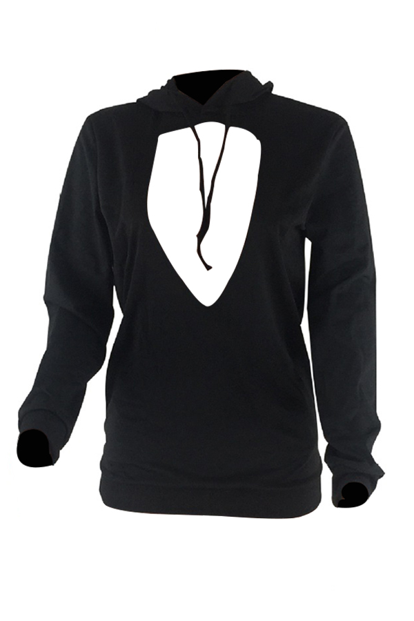 Euramerican Hooded Collar Chest Hollow-out Black Polyester Hoodies