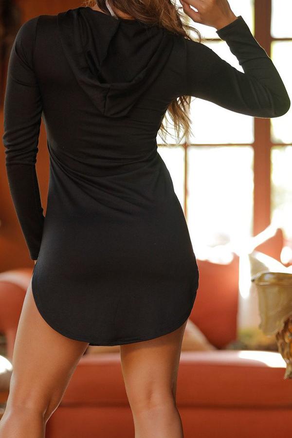 Euramerican Hooded Collar PU Patchwork Black Polyester Mini Dress