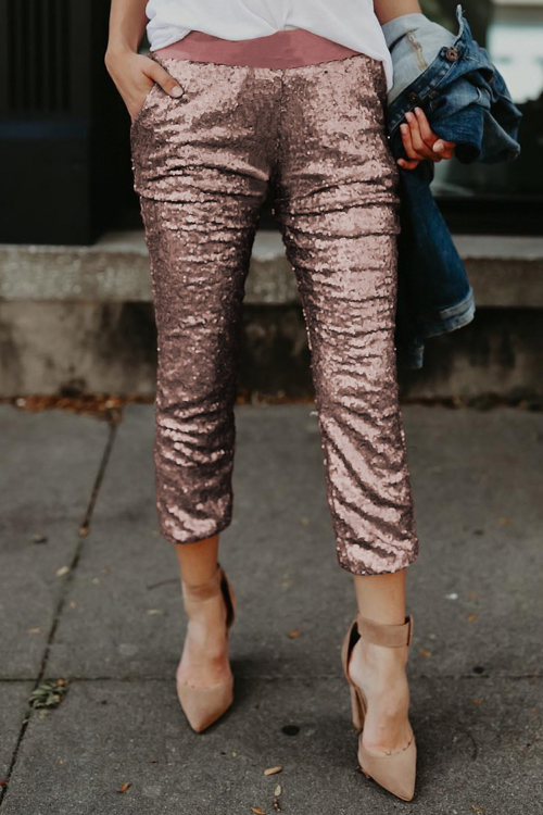 Lovely Fashionable Mid Waist Rose Gold Polyester Pants