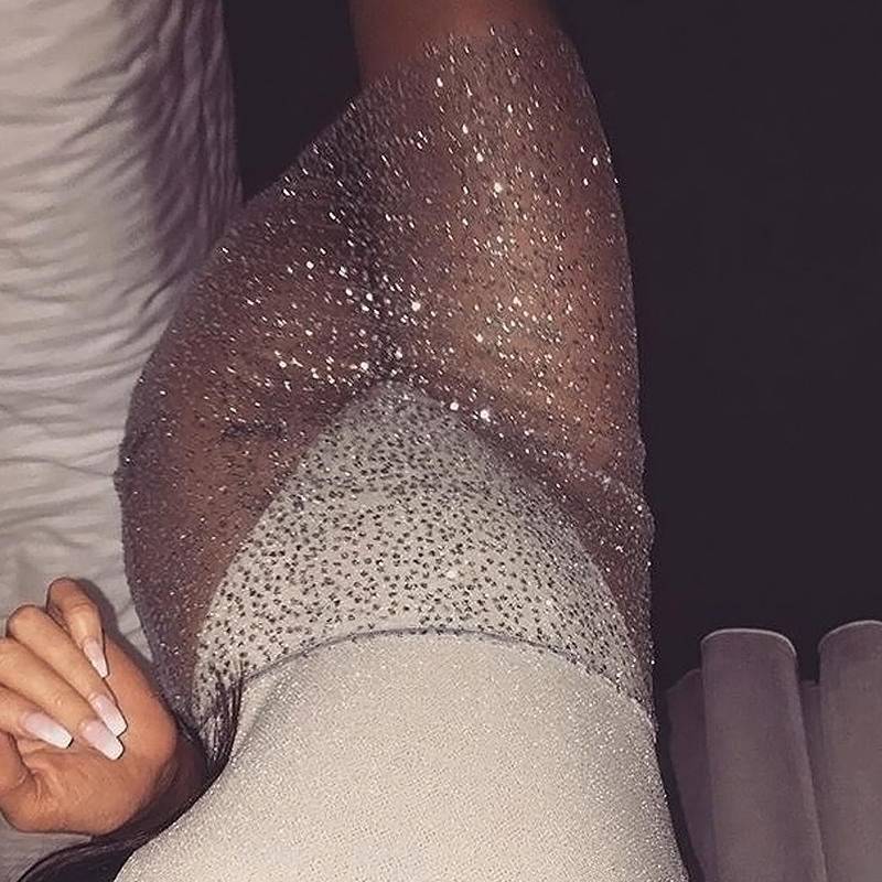 Sexy Mid Waist Hot Drilling Decorative Silver Lace Knee Length Skirts(Without Briefs)<br>