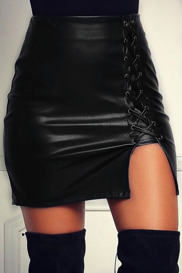 Euramerican High Waist Lace-up Black Leather Sheath Mini Skirts