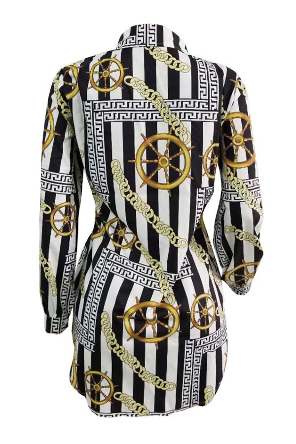 Casual Turndown Collar Chains Printed Yellow Polyester Mini Dress