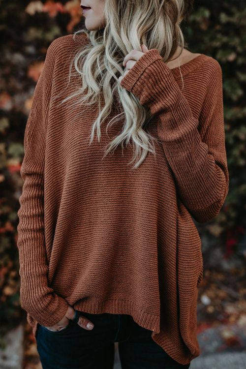Euramerican Round Neck Asymmetrical Brown Acrylic  Sweaters<br>