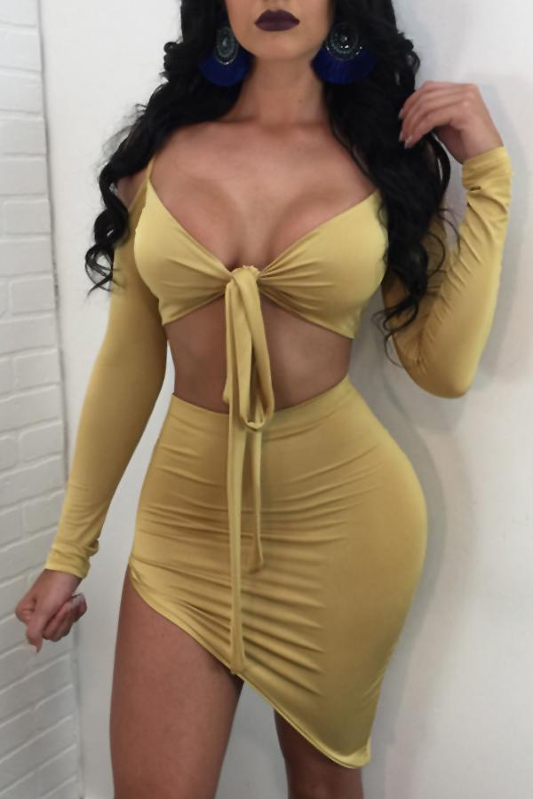 Sexy Rocío Hombro Irregular Dobladillo De Algodón Amarillo Falda De Dos Piezas