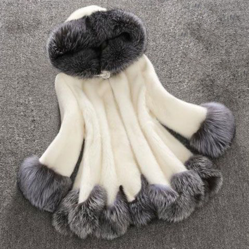 Euramerican Hooded Collar Fur Design White Faux Fur Coat