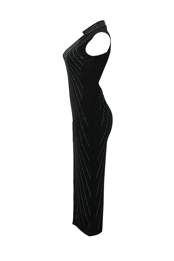 Collar De Mandarina Retro Perforación En Caliente Vestido De Longitud De Tobillo Poliéster Negro Decorativo