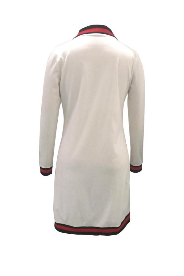 Euramerican Long Sleeves Striped White Polyester Long Cardigans