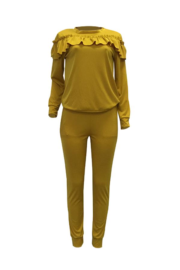Conjunto De Pantalones De Dos Piezas De Algodón Amarillo Con Diseño Plisado Y Cuello Redondo Casual