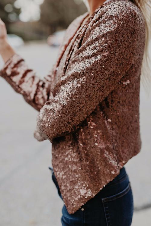 Trendy Turndown Collar Sequined Decorative Gold Blending Short Coat