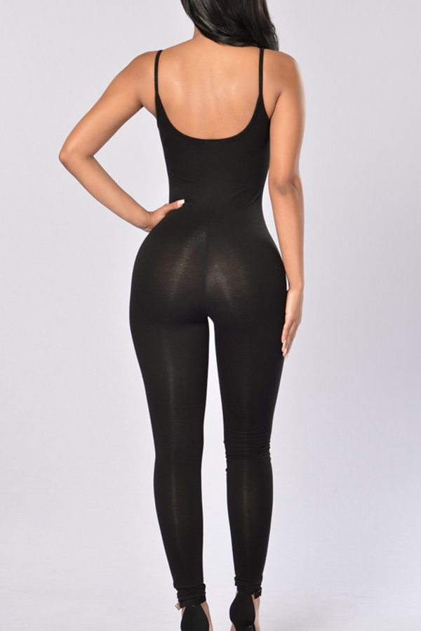 Fashionable Spaghetti Strap Sleeveless Black Polyester One-piece Jumpsuits
