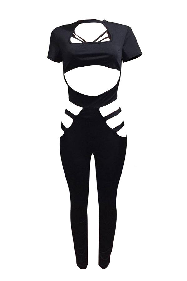 Sexy Round Neck Hollow-out Black Polyester Jumpsuits de uma peça