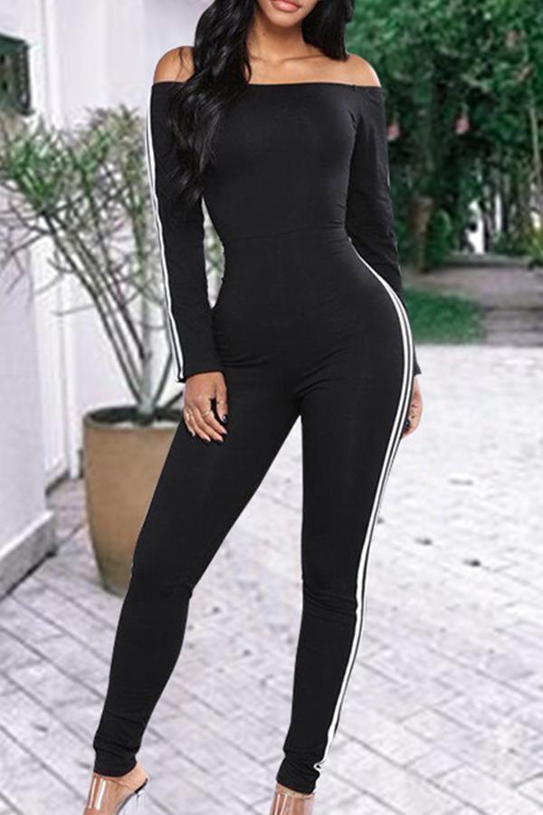 Stylish Bateau Neck Striped Black Cotton Blends One-piece Jumpsuits
