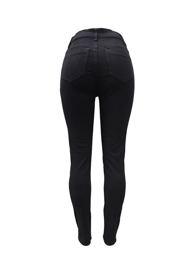 Casual Cintura Alta Zipper Design Preto Denim Jeans